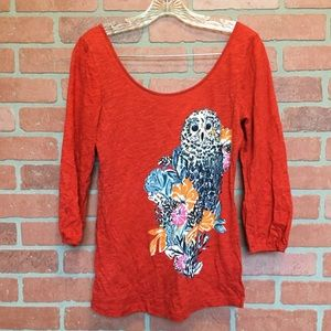 Anthropologie Owl theme shirt size S small (T61)